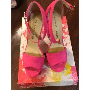 Chinese laundry hot pink stack heel sandal